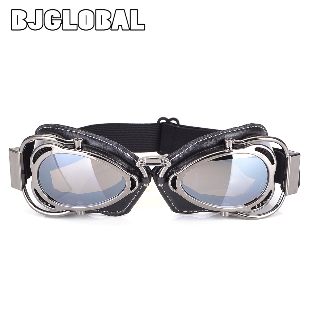 Silver BJ Global Stylish motor bike goggles helmet glasses goggles for Harley