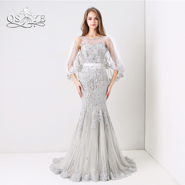 QSYYE 2018 New Silver Fomral Evening Dresses Luxury Crystal Beaded  Transparent Cape Lace Long Mermaid Prom Dress Party Gown 7f4250275e77