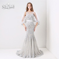 QSYYE 2018 New Silver Fomral Evening Dresses Luxury Crystal Beaded Transparent Cape Lace Long Mermaid Prom Dress Party Gown