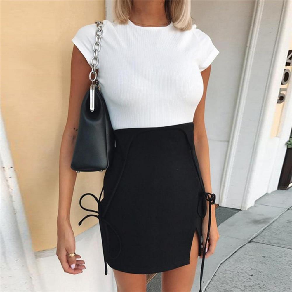 Ladies Dress Sling Bag Hip Slim Shoulder Strap High Waist School Split DressSummer fall fashion strap dress