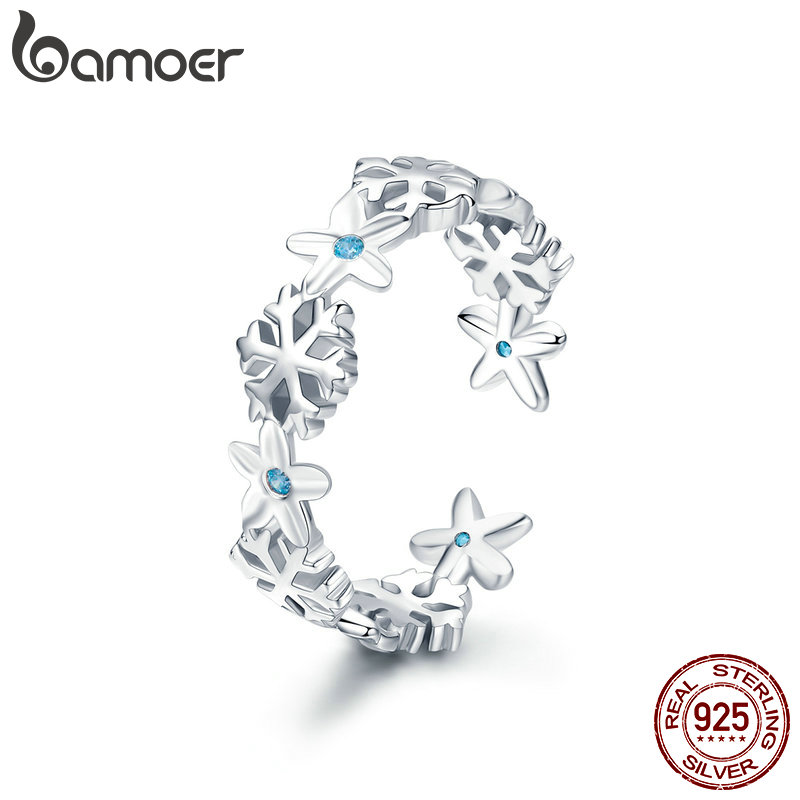 BAMOER Authentic 925 Sterling Silver Winter Snowflake Finger Rings for Women Snowflake Wedding Engagement Ring Jewelry BSR015 cute snowflake hairpin for women