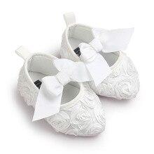 Spitz Baby Mädchen Schuhe Infant Prinzessin Spitze Blumen Bogen Slip-on Party Weiche Sohle Slip-on Krippe flach 0-18Months