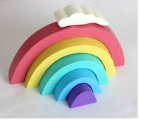 Wooden rainbow ornaments Nordic style wooden rainbow decoration for kids room building hanging decoration