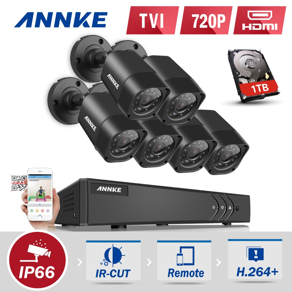 ANNKE 6x 1500TVL 720P Outdoor CCTV Cameras 1080N TVI 4in1 8CH DVR Security System CCTV Surveillance kits 1TB HDD