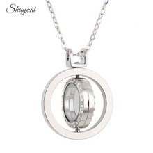 5PCS Alloy 3Colors Rotate Glass Living Memory Locket Rhinestone Floating Locket Charms Pendant Necklace with Free Chain