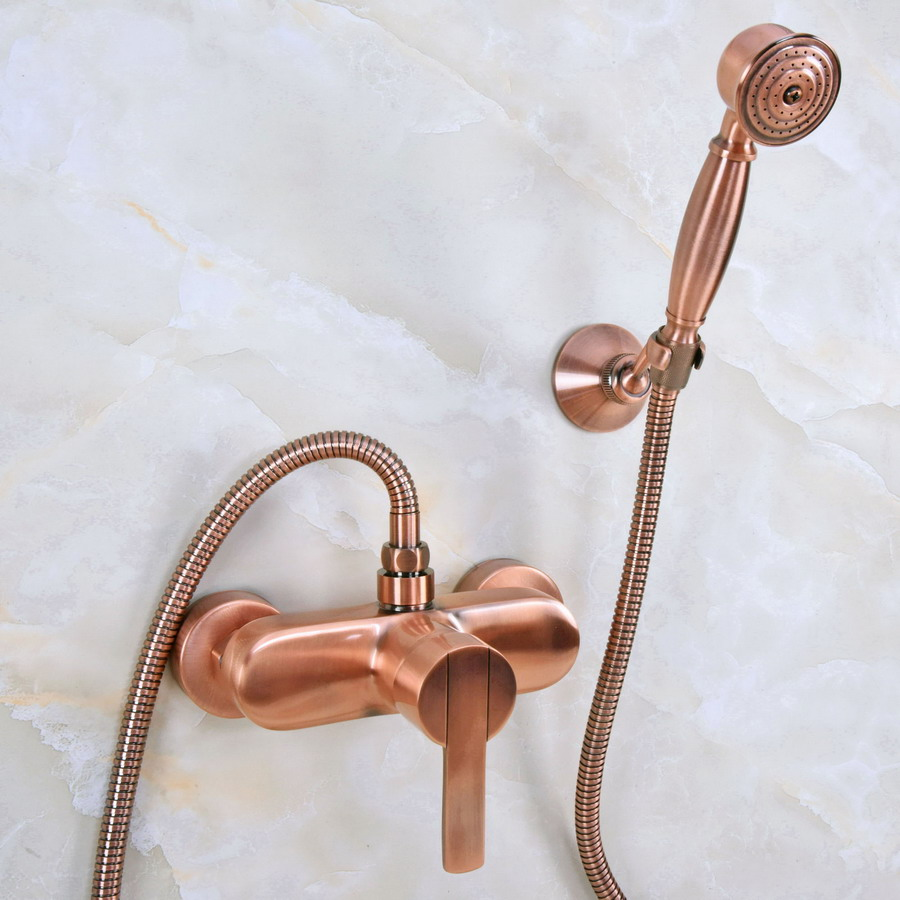 цена на Antique Red Copper Brass Single Lever Handle Wall Mounted Bathroom Shower Faucet Mixer Tap Set w/ Hand Shower ana290