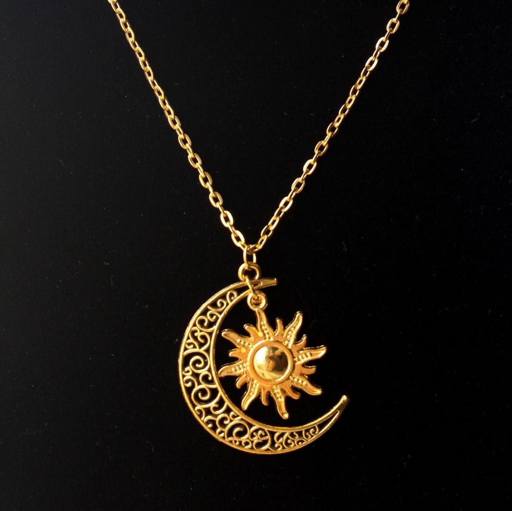 hzew Hippie Sun and crescent moon charm pendant necklace
