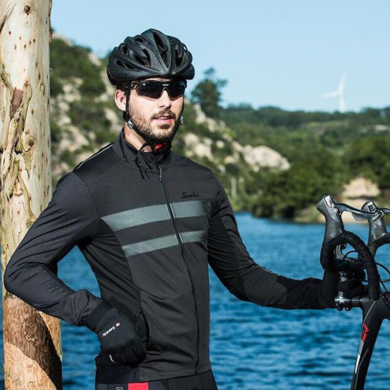 Sanitc New Cycling Thermal Jacket Men Autumn Winter Fleece Windproof Coat Reflective Black Bike Hiking Clothing Asian S-3XL monton 1019 ultrathin cycling polyester fiber jacket black size s