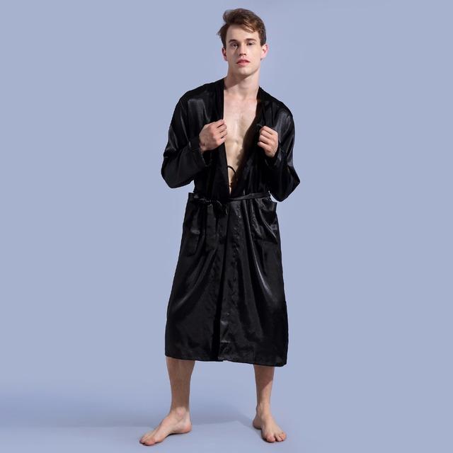 Men's Solid Color Satin Robe