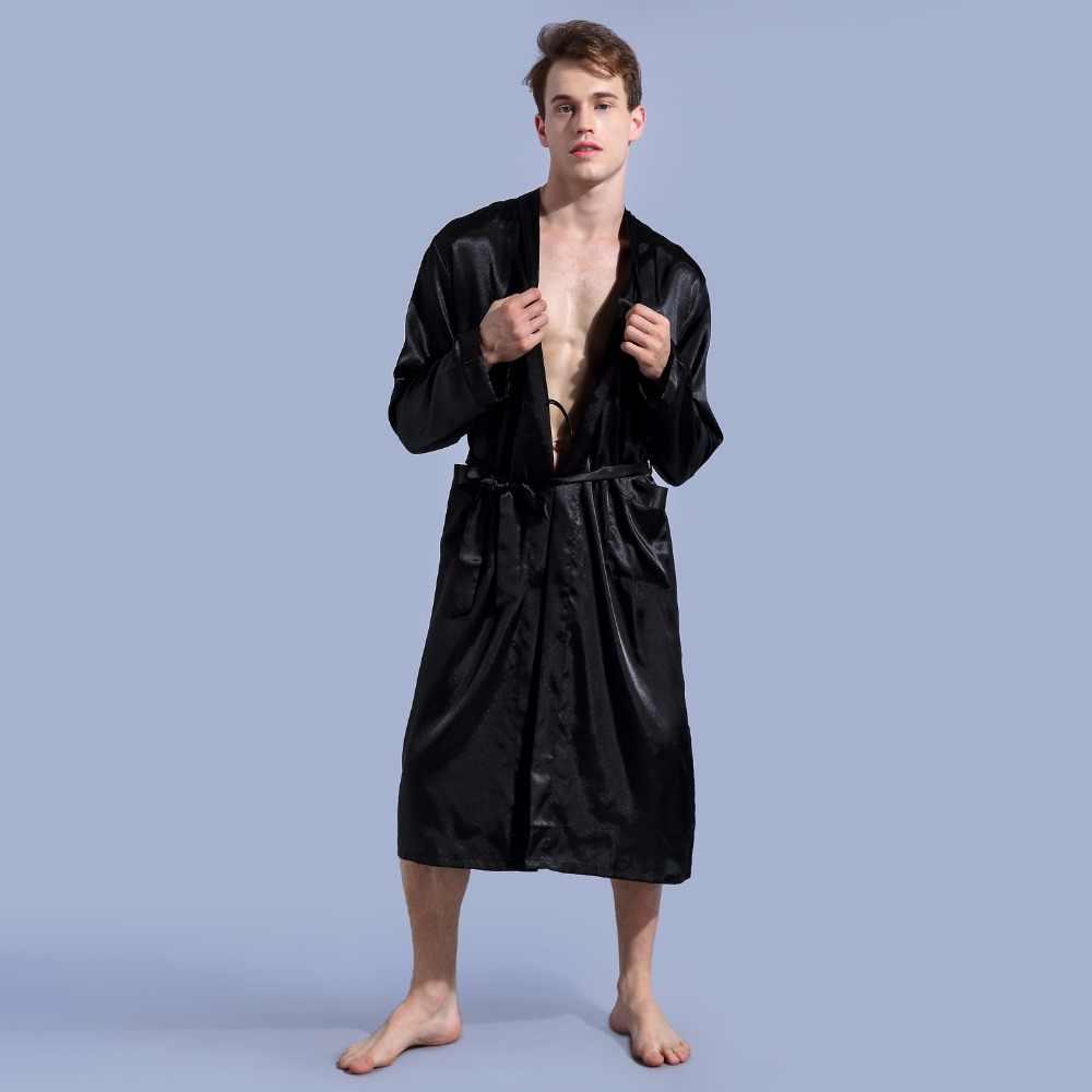黒ロングスリーブ中国男性レーヨンローブガウン新しい男性着物浴衣パジャマナイトウェアパジャマsml xl xxl