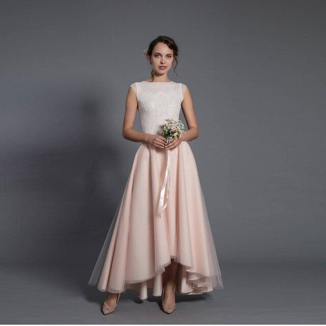 8154455d1806 Saia Faldas 2017 Idilliaco Blush Pink Alto Basso Tulle Gonne per Bella  Sposa Per Cerimonia Nuziale