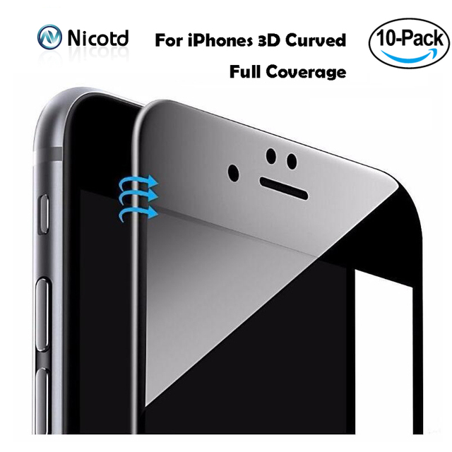10pcs/lot 3D Curved Carbon Fiber Soft Edge Tempered Glass For iPhone 8 Plus 6S 6 Plus Phone Screen Protector Film For iPhone 7 8