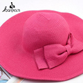 Fashion Hats For Women Fedora Trilby Gangster Cap Summer Beach Sun Straw Panama Hat with Bowknot Band Sunhat