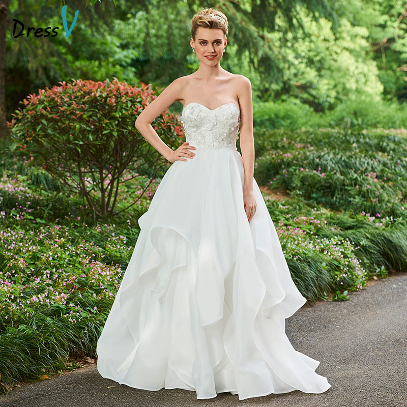 Wedding Ball Gowns Sweetheart Neckline: Dressv Ivory Long Wedding Dresses Sweetheart Neck Ball