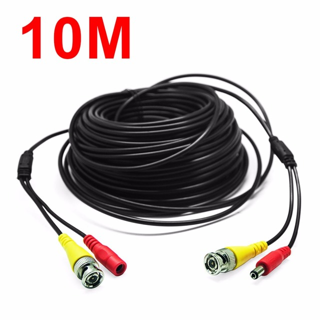 33Feet/10M Black BNC RCA Audio Video Power Extension Cable DVR Surveillance Wire for CCTV Security Camera