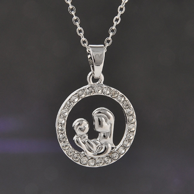 Baby Gift Jewelry For Mom : Trendy mom and baby fully crystal circle pendant necklace