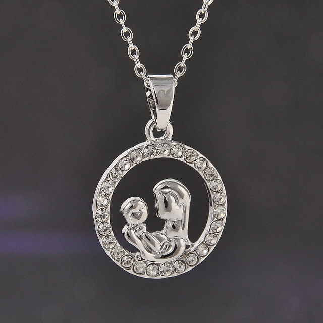 Trendy mom and baby fully crystal circle pendant necklace mothers trendy mom and baby fully crystal circle pendant necklace mothers day gift for mother sweater mozeypictures Image collections