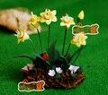 Mini casa de muñecas Muebles Mini Accesorios de Arcilla Flor de la Arcilla Hecha A Mano Hermosa Narciso Jardín