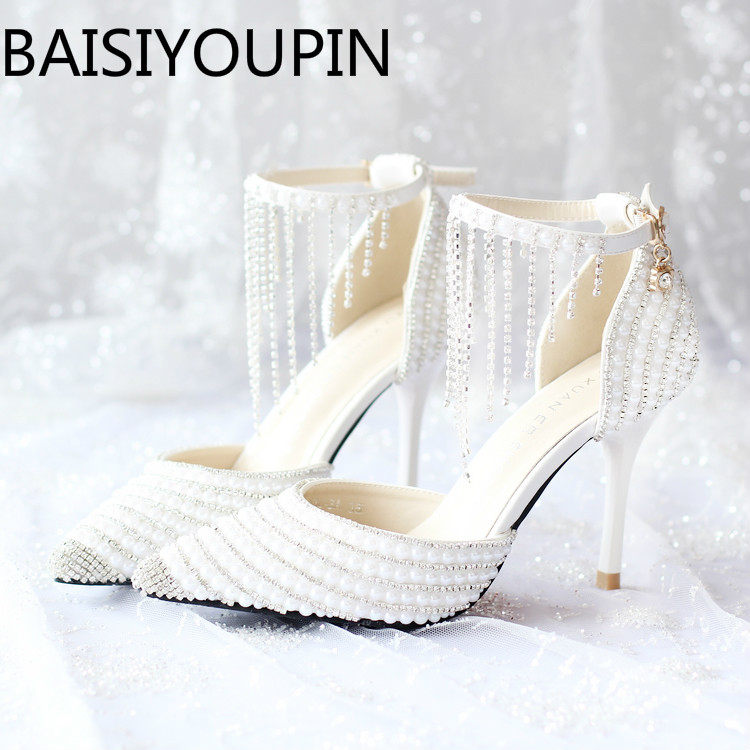 2018 Women White Crystal Shoes Tassel Wristband Wedding Shoes Pearl Bride Shoes High Heels Sandals Female Red Bottom Dress Pumps crystal queen sandals 14cm high heels women pumps sexy style buckle strap white lace pearl tassel fower wedding shoes summer