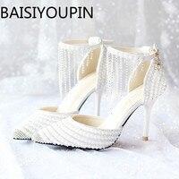 07183707 2018 mujeres BLANCO CRISTAL zapatos borla pulsera boda zapatos perla novia  zapatos tacones altos Sandalias Mujer