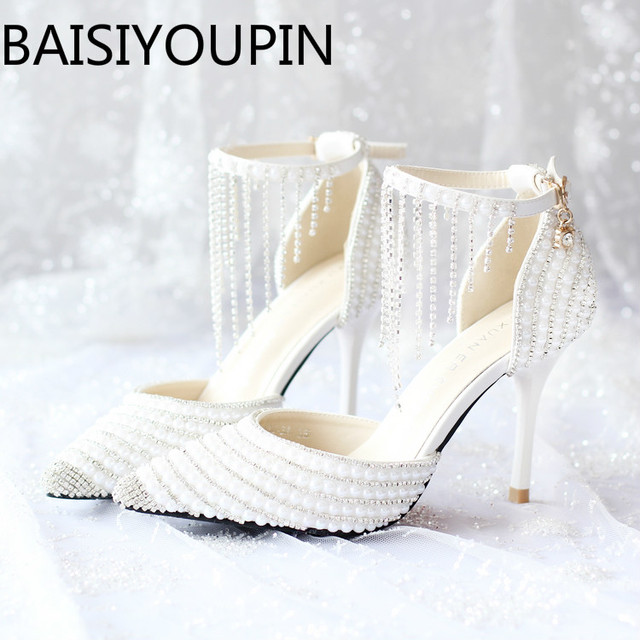 1f751086be029b 2018 Women White Crystal Shoes Tassel Wristband Wedding Shoes Pearl Bride  Shoes High Heels Sandals Female Red Bottom Dress Pumps
