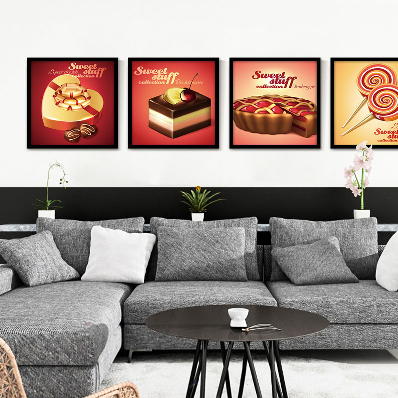 Sweet Stuff Canvas Painting for Children Kids Room Oil Painting Chocolate Strawberry Pie Printed Icecream Wall Picture no Frame