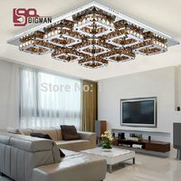 Hot Sales 9 Lights LED Crystal Chandelier Modern Square Stainless Steel Plating 72W Free Shipping