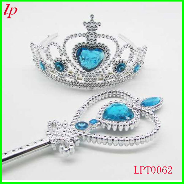 Kids Girls Princess Queen Cospaly Crown And Magic Wand 2 PCS Set Halloween Christmas Cosplay Accessories For Disfraces Carnaval