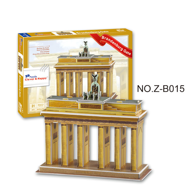 clever&happy land 3d puzzle model Brandenburg Gate intelligence toys adult puzzle diy paper model games for children paper