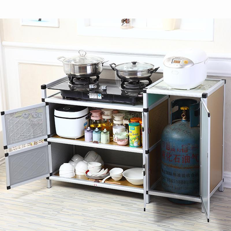 Kitchen Cabinet Gas Stove Shelf Aluminum Cupboard Household Simple Gas Stove Cabinet Stove Rack Gas Tank Cabinet Kitchen Cabinets Aliexpress
