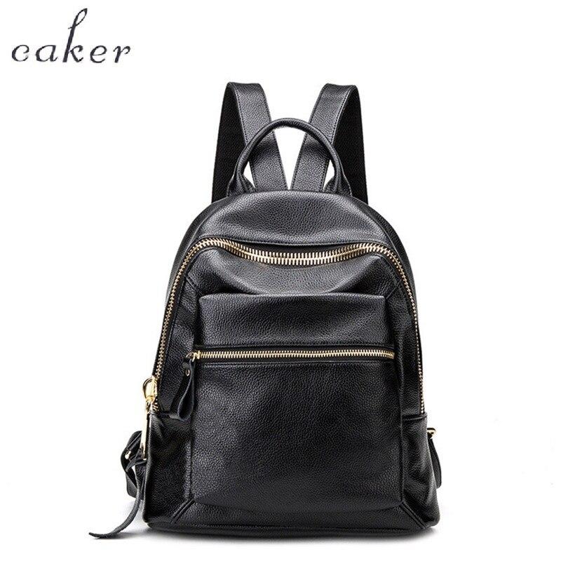 Caker 2017 Women Fashion Black Real Genuine Leather Backpack Female Soft School Shoulder Bags Lady High