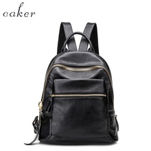 Caker 2017 Women Fashion Black Real Genuine Leather Backpack Female Soft School Shoulder Bags Lady High