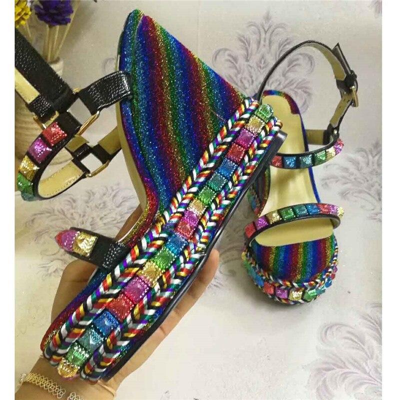 Knsvvli date noir en cuir plate forme sandale chaussures d'été femmes T sangle fond épais talons hauts compensés chaussures Sandalias Mujer-in Sandales femme from Chaussures    3