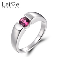 LeiGe Jewelry Genuine Natural Pink Tourmaline Rings Wedding Rings October Birthstone Round Shape Gems 925 Sterling