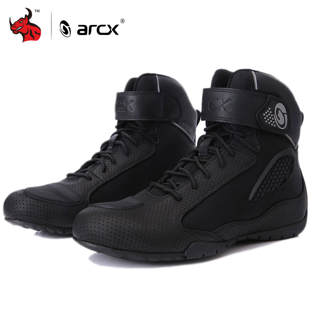 ARCX Moto bottes hommes Moto bottes déquitation respirant Moto chaussures Moto motard Chopper Cruiser Touring cheville chaussures #