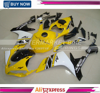 Yellow White Black 50th Anniversary Painting YZF R1 Complete Fairing Kit For Yamaha 2007 2008