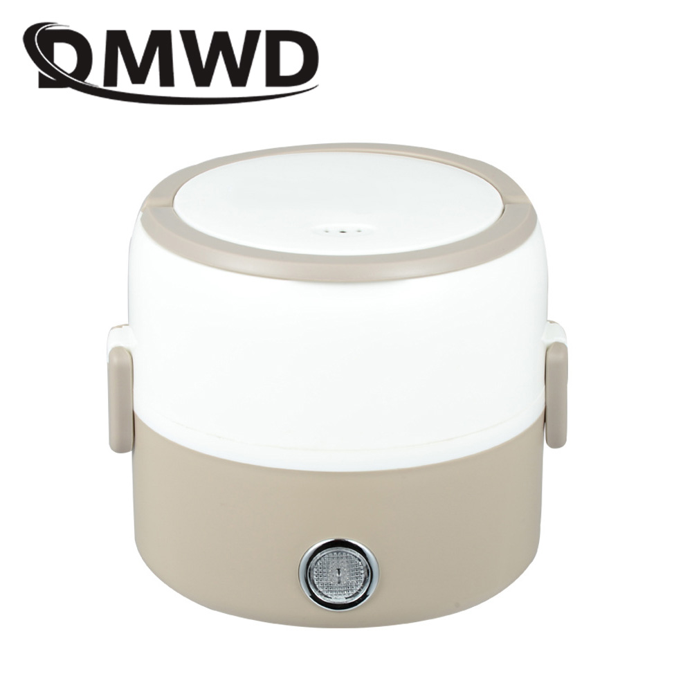 DMWD Portable Electric Rice Cooker 1.2L Insulation Heating Lunchbox Double Layers Cooking Steamer Container Mini Food Warmer EU dmwd mini rice cooker insulation heating electric lunch box 2 layers portable steamer multifunction automatic food container eu
