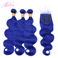 Ms Love Blue Hair Body Wave Bundles With Lace Closure Brazilian Hair With Closure Remy Human Hair Bundles With Closure