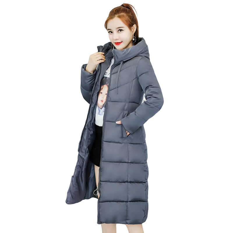 566d8d1fee4 ... New Fashion Plus Size Solid Slim Women Winter Hooded Coat Thick Down Parka  Long Female Winter ...