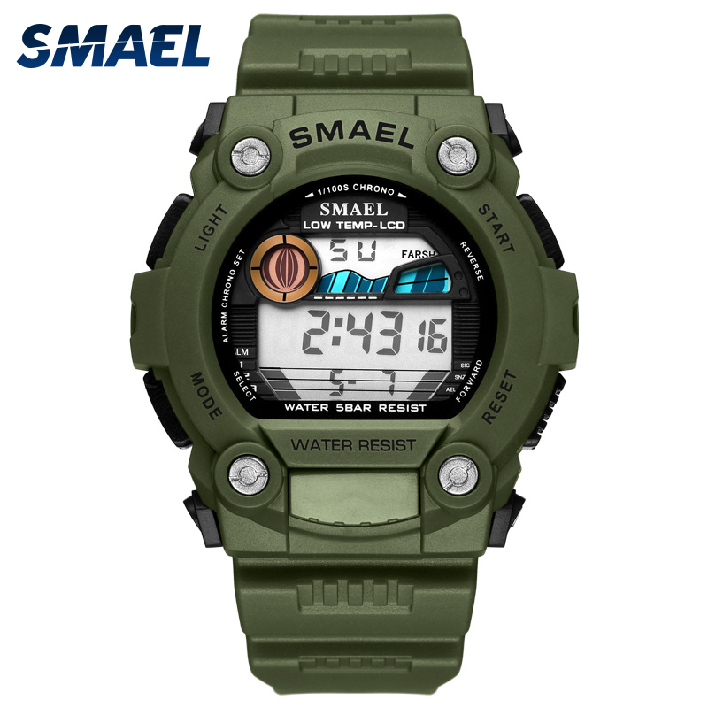 Digital Watch Waterproof  SMAEL Men Watch LED Clock Back Light Alarm Clock erkek kol saati 1423 Army Green Digital Sport Watches