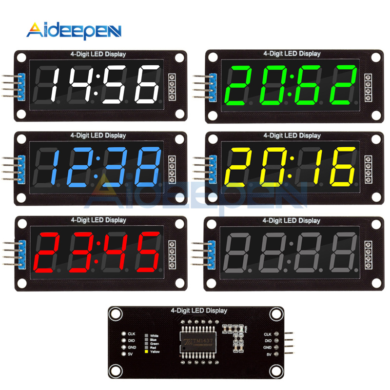 """0.56"""" LED 4-Digit Display Tube Decimal 7Segments TM1637 Clock Double Dots Module Blue/Yellow/White/Green/Red Display For Arduino"""