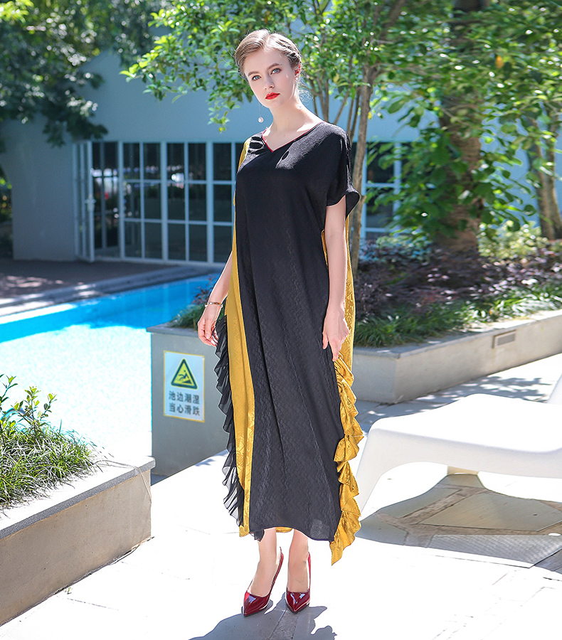 641fbd24f06d7 VOA 2017 Summer Casual Simple V Neck Plus Size Loose Long Maxi Dress  Chinese Style Vintage Elegant Silk Jacquard Dress ALJ01101-in Dresses from  ...