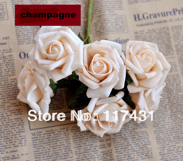 champagne 12 bouquets 72 pcsstaining artificial simulation pe foam eva single head camellia - Simulation Coloration