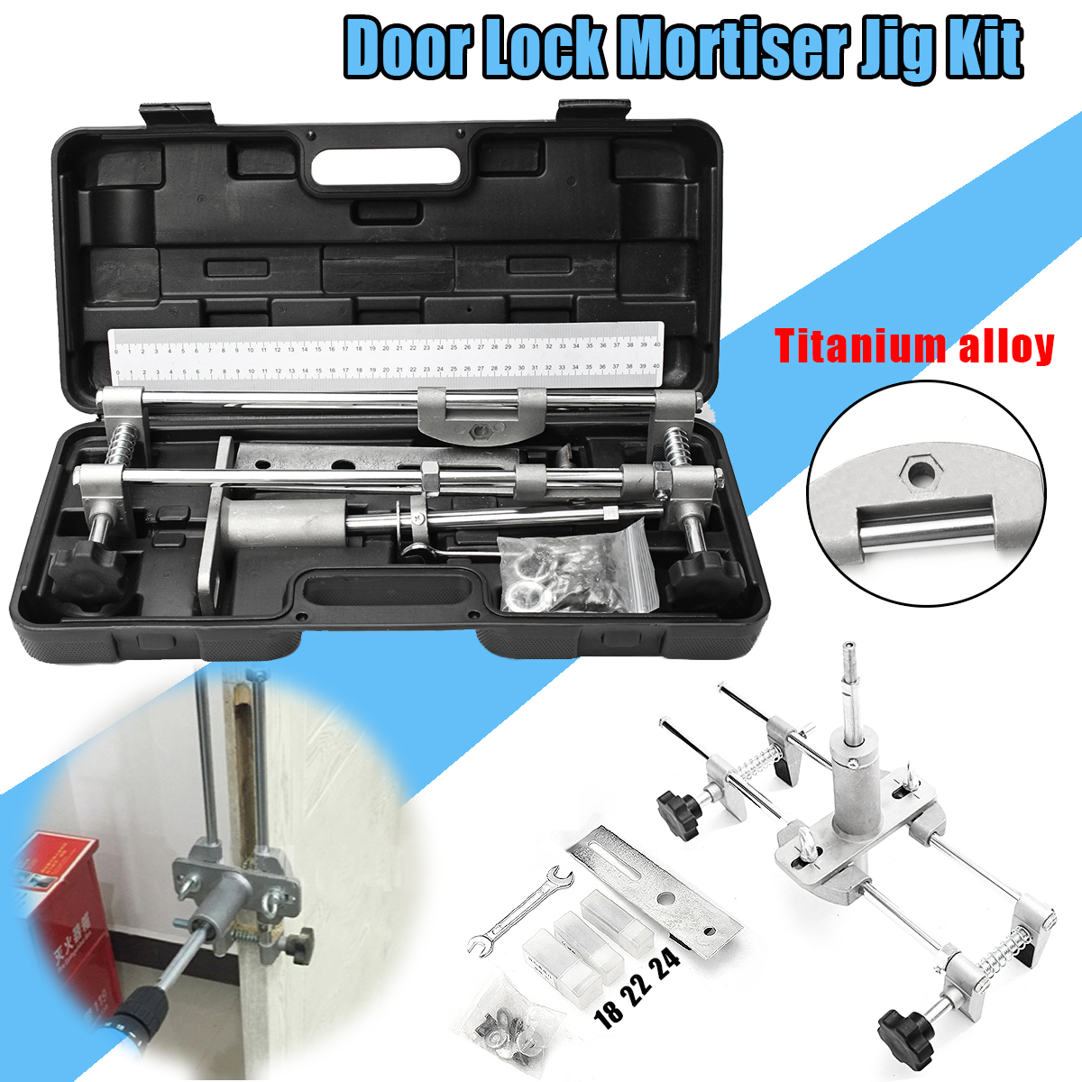 NEW Titanium Alloy Mortice Door Fitting Jig Lock Mortiser DBB Key JIG1 With 3Cutters цена