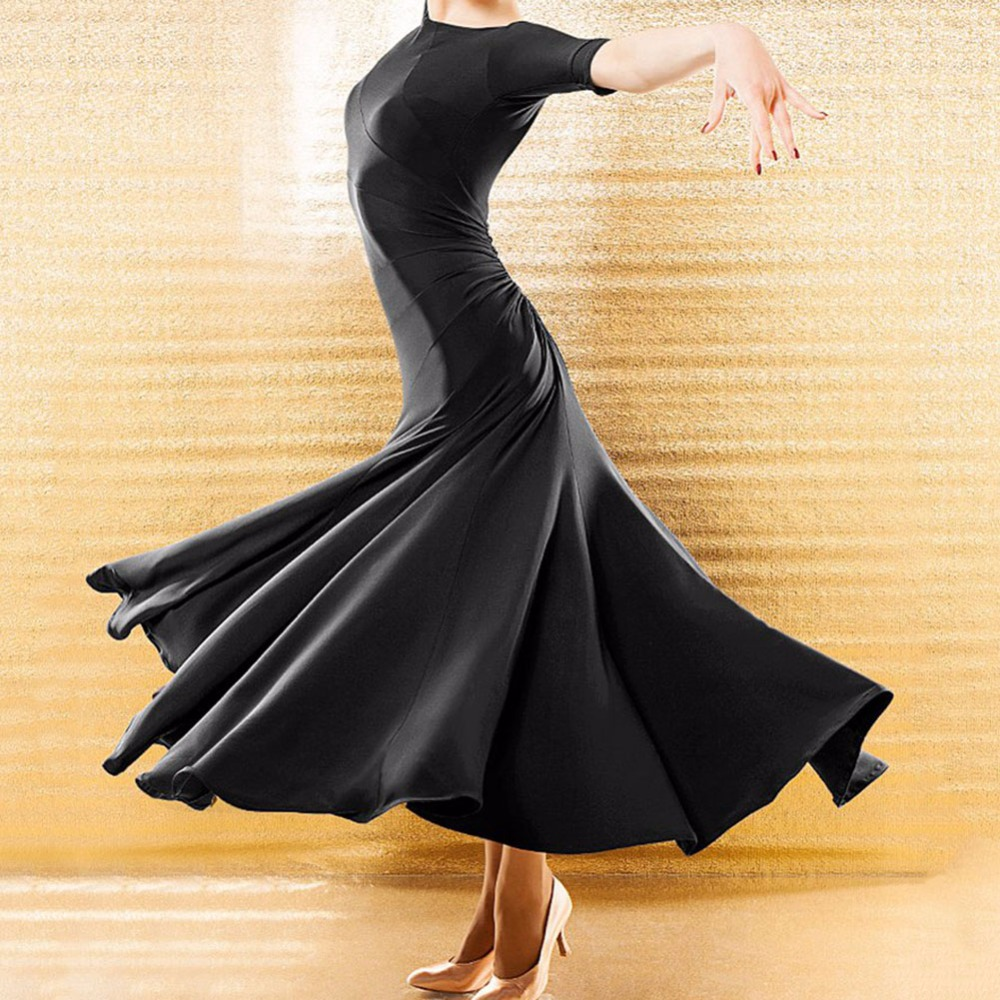 New Arrival Ballroom Dance Dress Black Color Plus Size Modern Garments Waltz Standard Match Competitive Elegant Dresses Q5053-in Ballroom from Novelty & Special Use    1