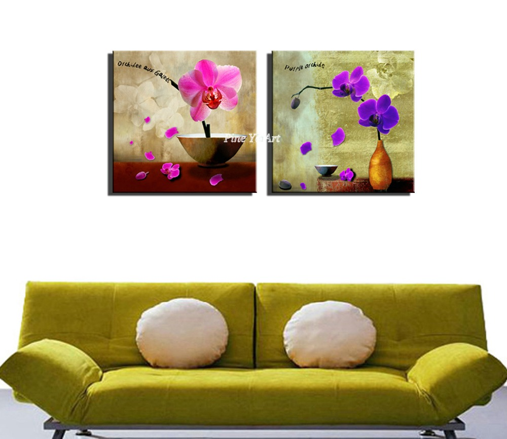 2 panel HD print pink purple flower artwork abstract modern canvas ...