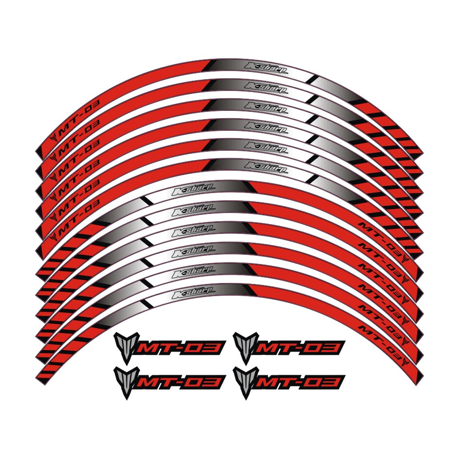MTKRACING 3 color for YAMAHA MT-03 motorcycle wheel decals Reflective stickers rim stripes MT 03 motorbike mt03