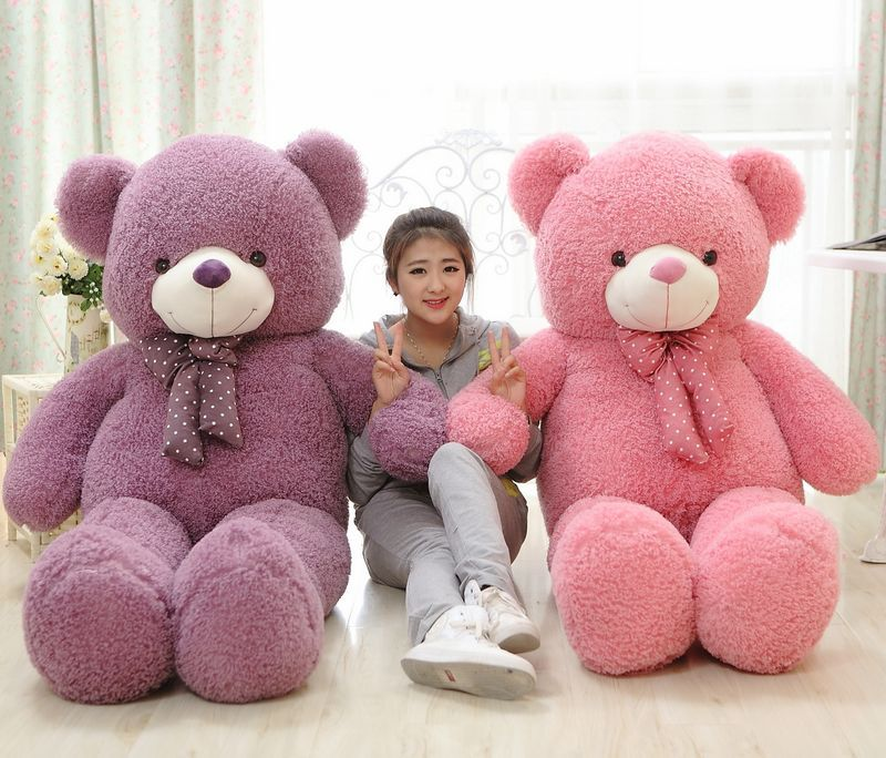 160cm pink or purple teddy bear plush toy soft hugging pillow Valentines Day present birthday gift w5464160cm pink or purple teddy bear plush toy soft hugging pillow Valentines Day present birthday gift w5464