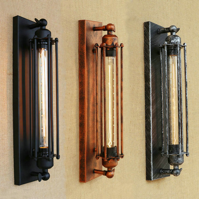 Loft Style E27 Edison Flute Bulb Iron Sconce Wall Lights Industrial Vintage Wall Lamp Fixtures Indoor Lighting Lampara Pared