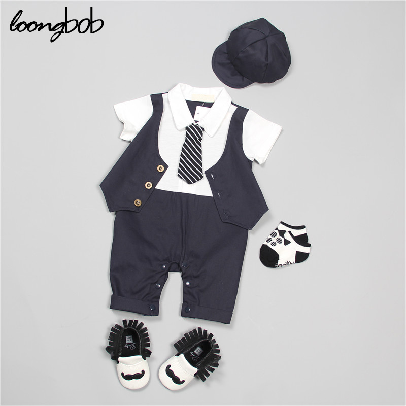 2017 TOP summer Gentleman short baby set boys clothing set baby rompers sleeve T-shirt + Overalls 2pcs suit newborn clothes hot